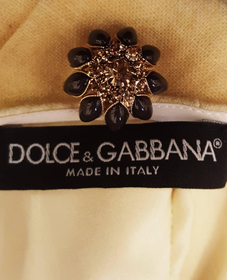Dolce & Gabbana Mustard Linen and Cotton A Line Blouse with Kolymbetra Print For Sale 1