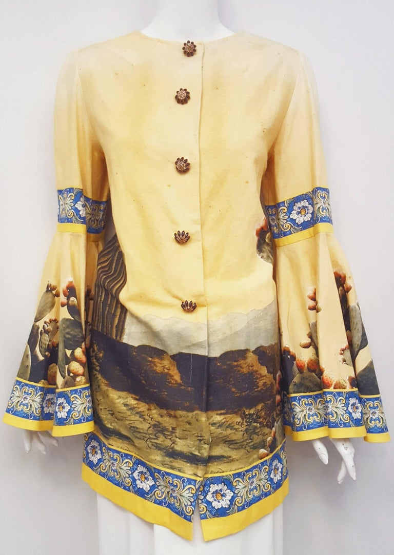 Dolce & Gabbana Mustard Linen and Cotton A Line Blouse with Kolymbetra Print In Excellent Condition For Sale In Palm Beach, FL