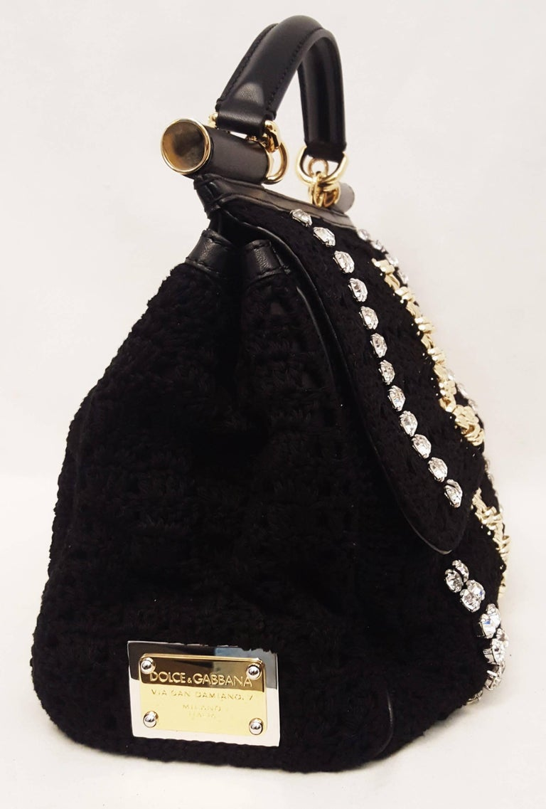 Dolce & Gabbana Black Crochet Crystal and Chain Decorated Top Handle Bag In Excellent Condition For Sale In Palm Beach, FL