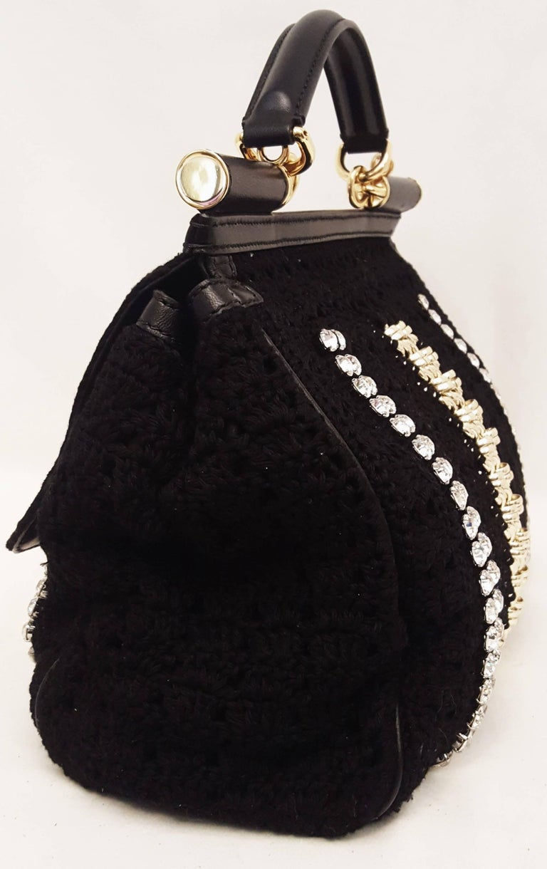 Dolce & Gabbana Black Crochet Crystal and Chain Decorated Top Handle Bag For Sale 1