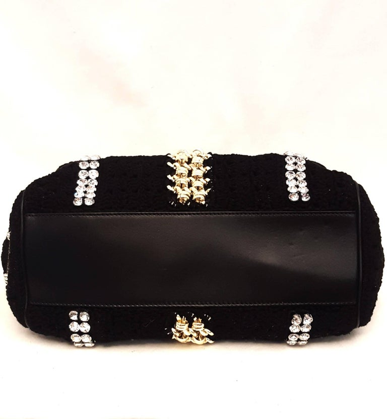 Dolce & Gabbana Black Crochet Crystal and Chain Decorated Top Handle Bag For Sale 2