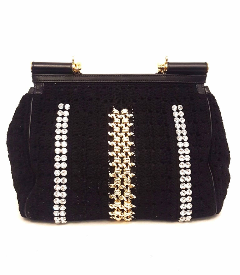 Women's Dolce & Gabbana Black Crochet Crystal and Chain Decorated Top Handle Bag For Sale