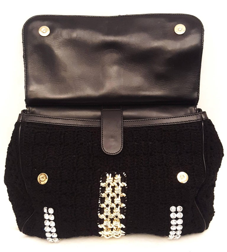 Dolce & Gabbana Black Crochet Crystal and Chain Decorated Top Handle Bag For Sale 3