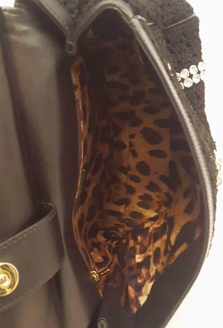 Dolce & Gabbana Black Crochet Crystal and Chain Decorated Top Handle Bag For Sale 4