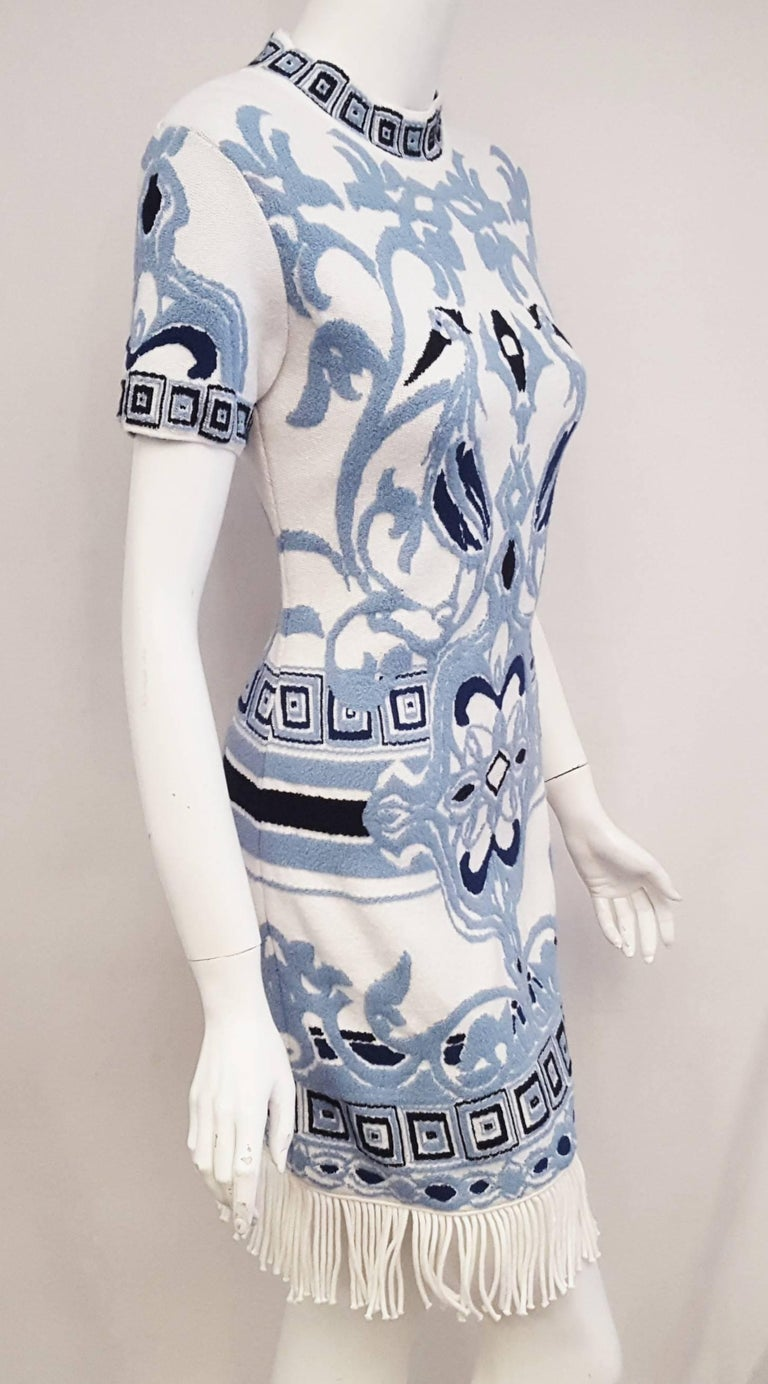 Emilio Pucci White & Blue Cotton Knit Fringe Dress In Excellent Condition For Sale In Palm Beach, FL