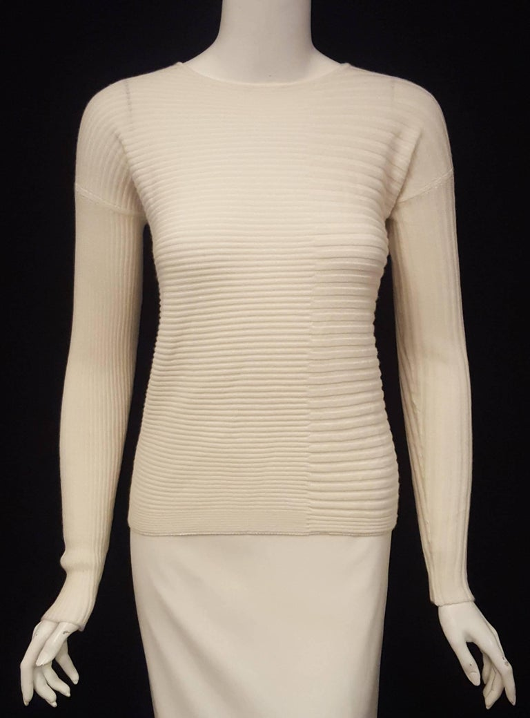 Beige Loro Piana Ivory Cashmere and Silk Long Sleeve Pullover Sweater For Sale
