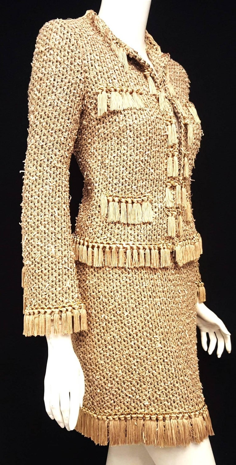 Moschino Taupe / Gold Tone / Black Cropped Fringe Skirt Suit  In Excellent Condition For Sale In Palm Beach, FL