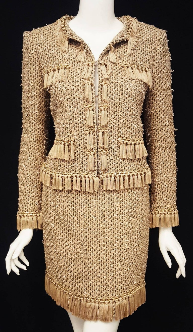 Beige Moschino Taupe / Gold Tone / Black Cropped Fringe Skirt Suit  For Sale