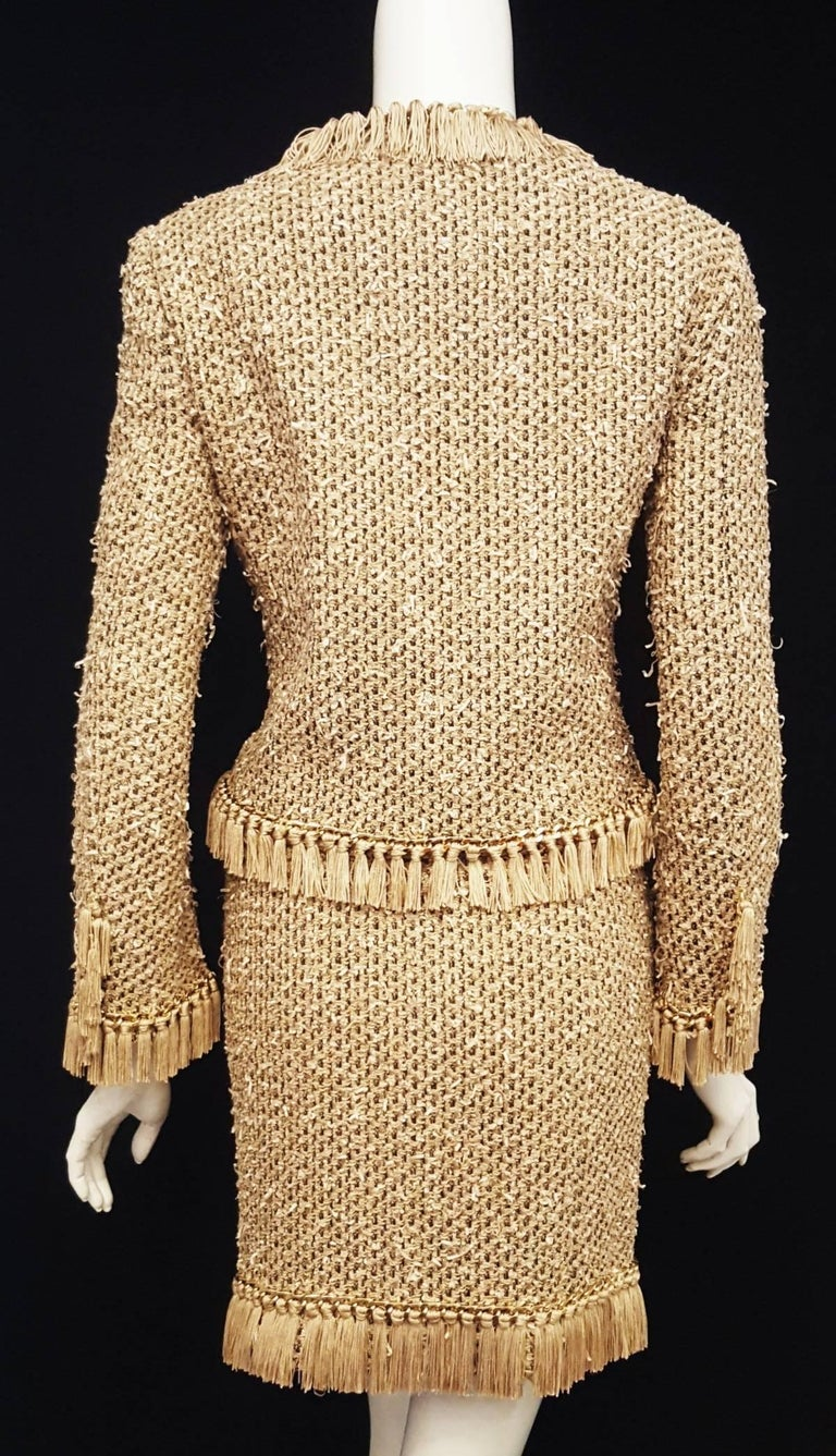 Women's Moschino Taupe / Gold Tone / Black Cropped Fringe Skirt Suit  For Sale