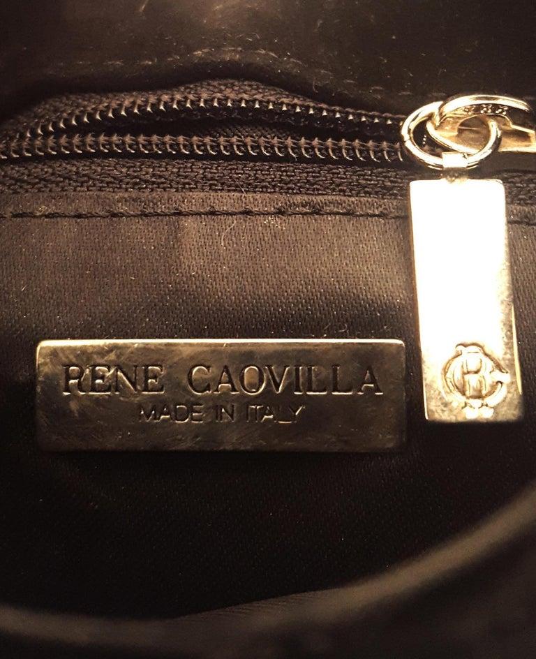 Rene Caovilla Black Lace Satin Lined Velvet and Swarovski Trim handbag  For Sale 2