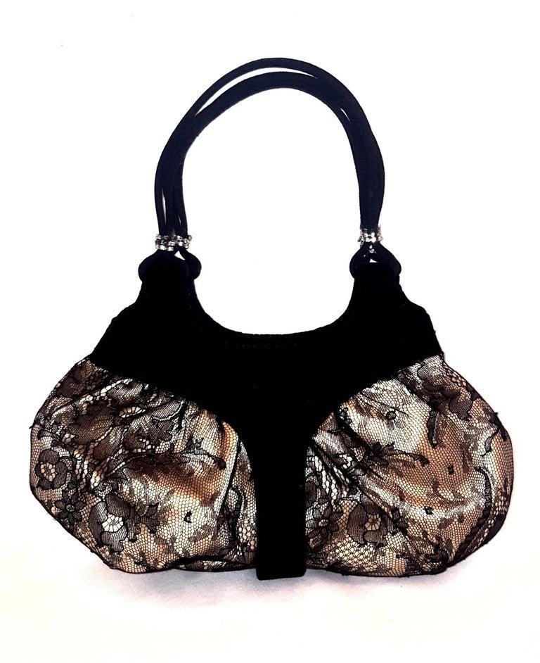 Women's Rene Caovilla Black Lace Satin Lined Velvet and Swarovski Trim handbag  For Sale