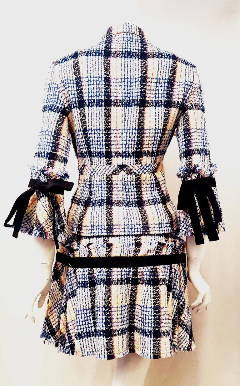 Gray Chanel White & Multicolor Tweed Skirt Suit Defines Chanel's Fashion House For Sale