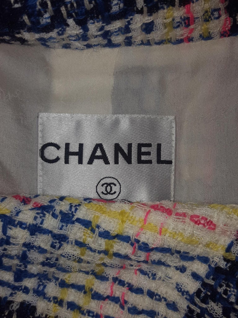 Women's or Men's Chanel White & Multicolor Tweed Skirt Suit Defines Chanel's Fashion House For Sale