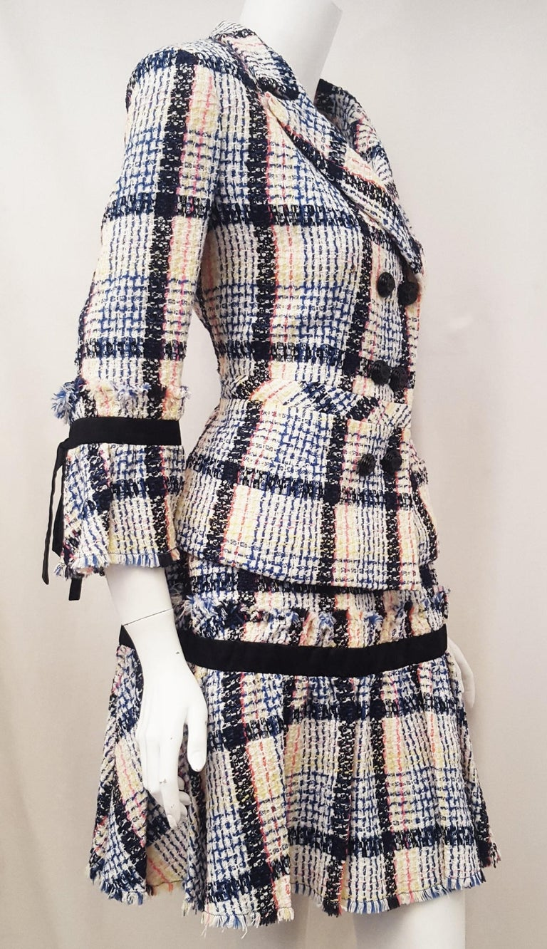 Chanel White & Multicolor Tweed Skirt Suit Defines Chanel's Fashion House In Excellent Condition For Sale In Palm Beach, FL