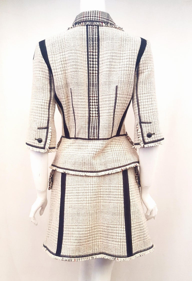 Women's Louis Vuitton Black & Beige RunwayTweed Skirt Suit with Fringe Border Details For Sale