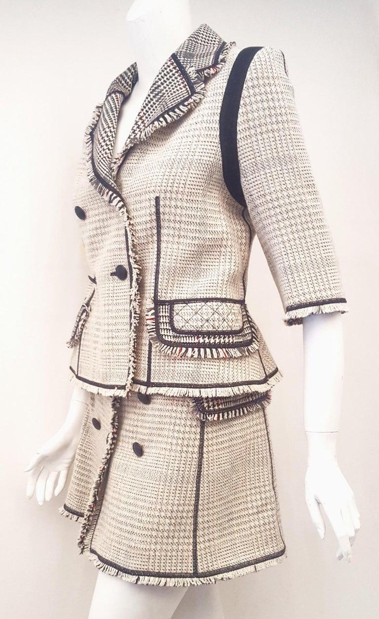 Louis Vuitton Black & Beige RunwayTweed Skirt Suit with Fringe Border Details For Sale 1