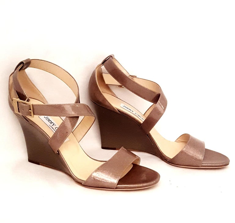 55aaa12d5a Beige Jimmy Choo Fearne Taupe Patent Leather Glitter & Criss Cross Straps  Wedges For Sale