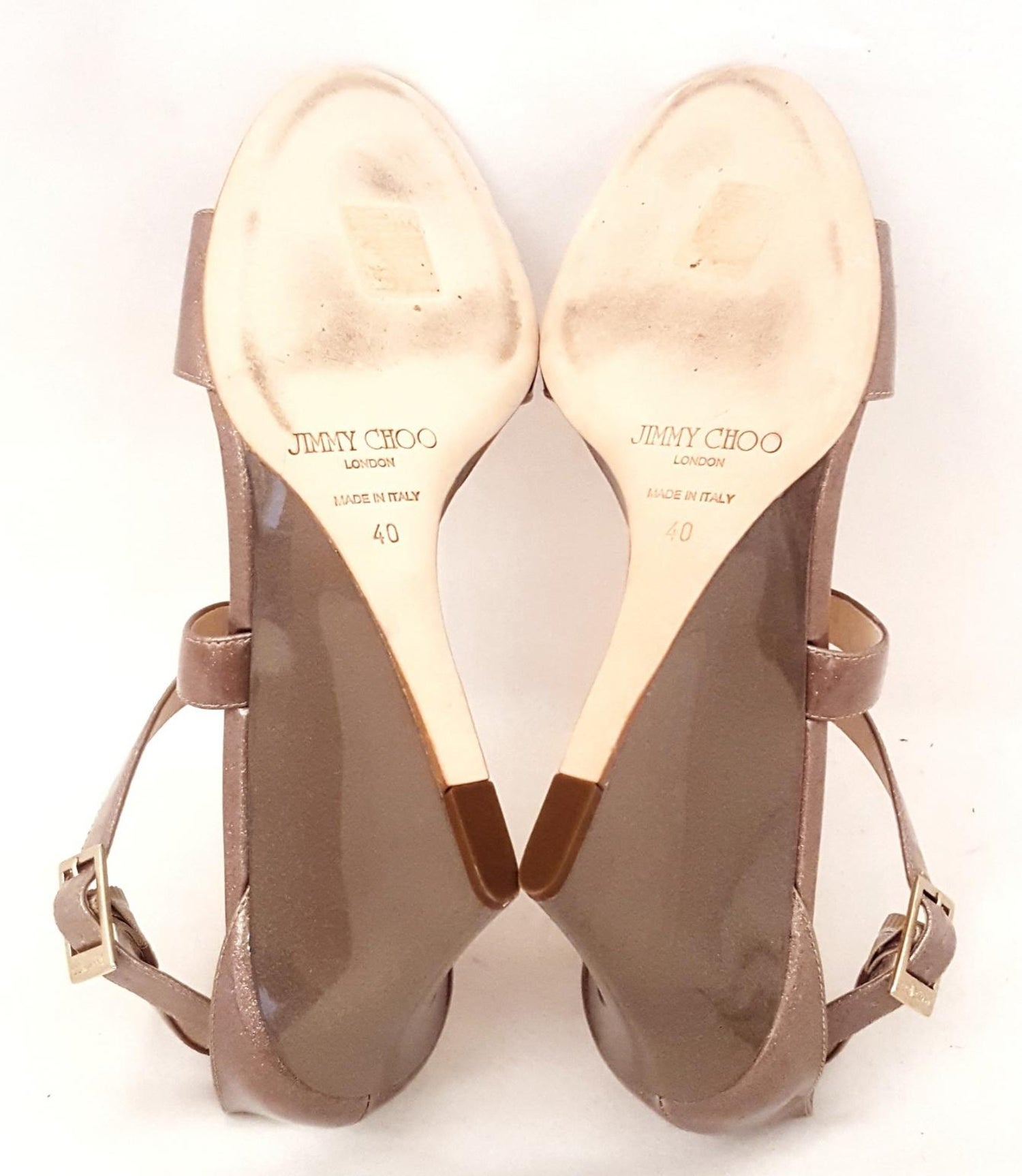 3397741daf Jimmy Choo Fearne Taupe Patent Leather Glitter and Criss Cross Straps  Wedges at 1stdibs