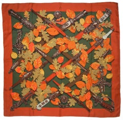 Hermes Au Plus Dru Copper Fall Tone Silk Scarf by Dimitri Rybaltchenko