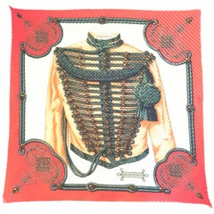 Hermes by Caty Latham Vintage Brandebourgs Pleated Silk Scarf, 1972