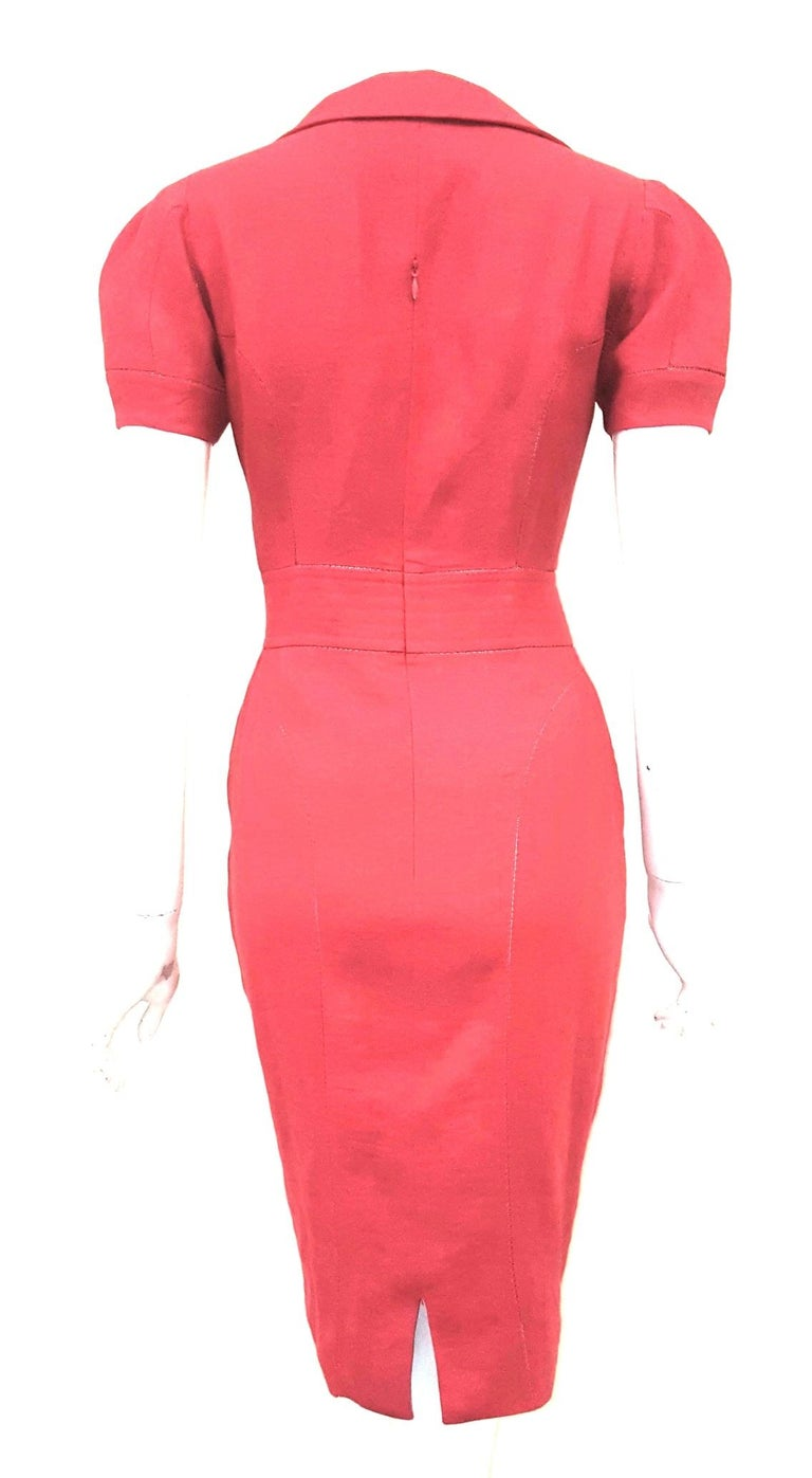 Fendi Red Linen Zig-Zag Open Stitching Dress In Excellent Condition For Sale In Palm Beach, FL