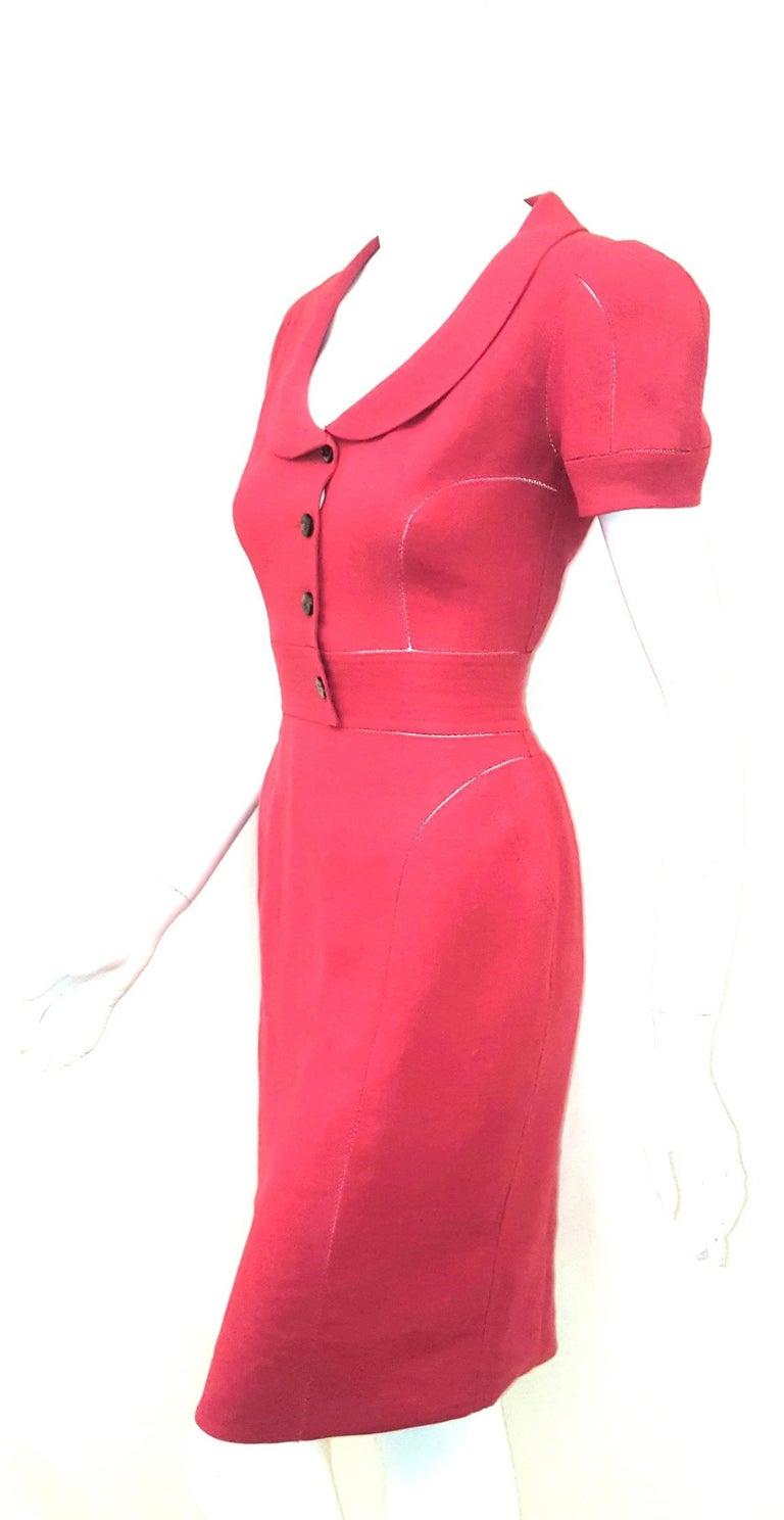 Fendi Red Linen Zig-Zag Open Stitching Dress For Sale 1