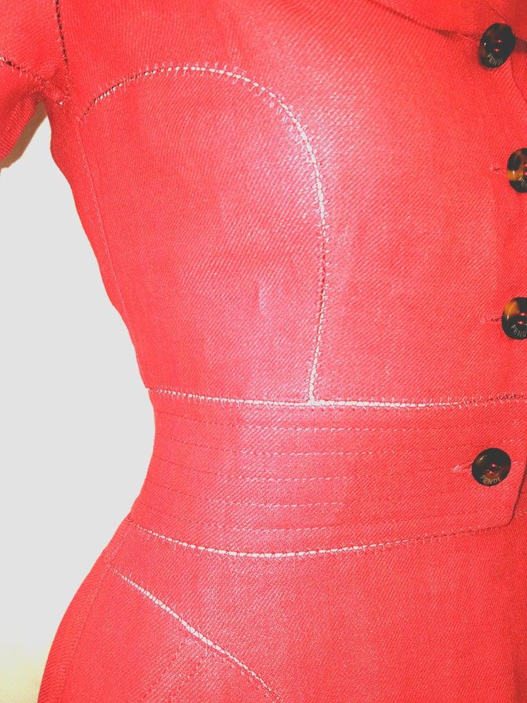 Women's Fendi Red Linen Zig-Zag Open Stitching Dress For Sale