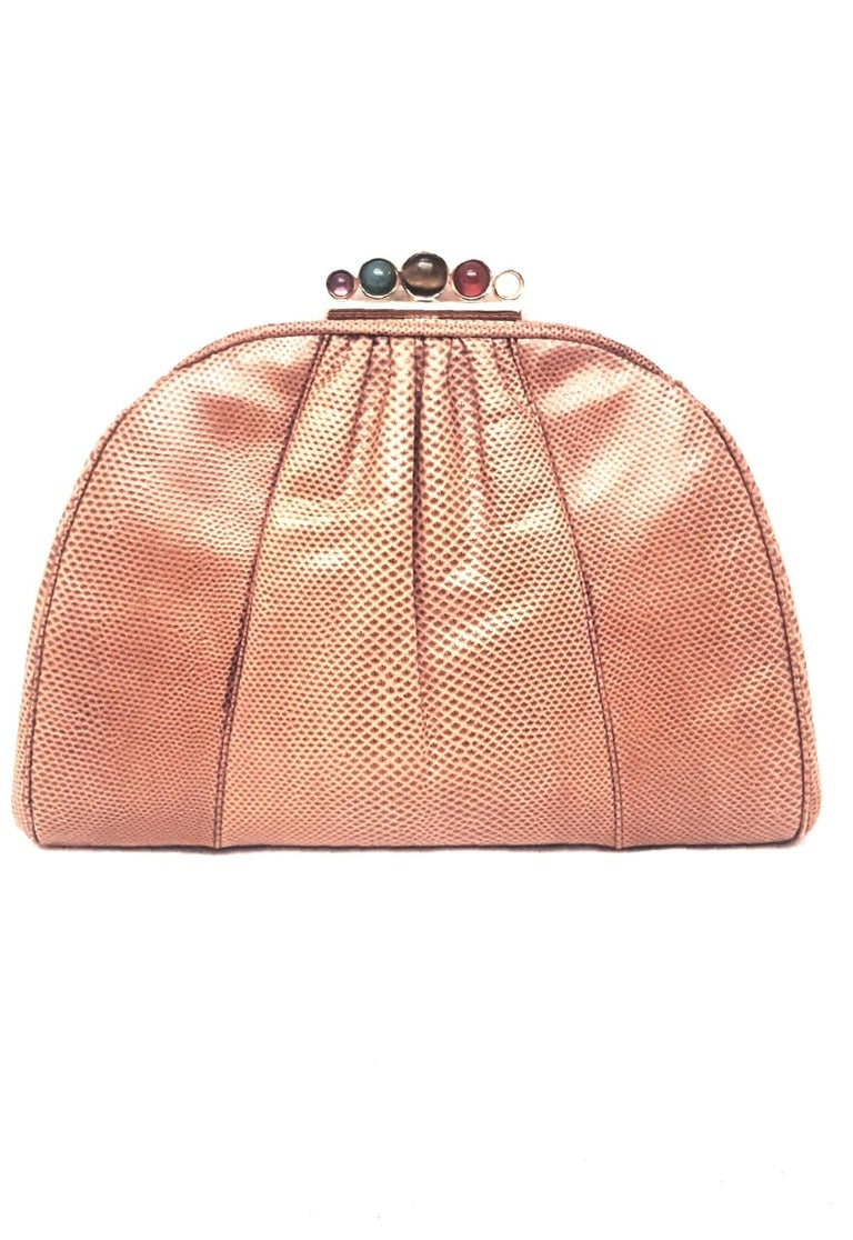 Orange Vintage Judith Leiber Tan Lizard Convertible Shoulder Bag with Jeweled Closure  For Sale