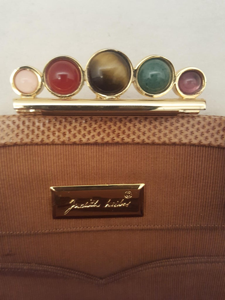 Vintage Judith Leiber Tan Lizard Convertible Shoulder Bag with Jeweled Closure  For Sale 4