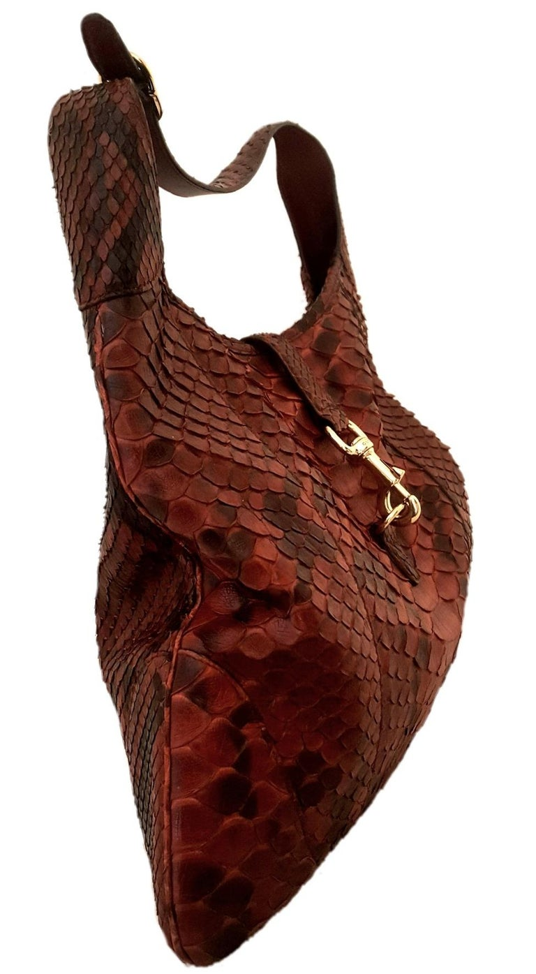 8cf2ddbcdecf63 Gucci Jackie Burgundy Python Leather Hobo Bag In Excellent Condition For  Sale In Palm Beach,