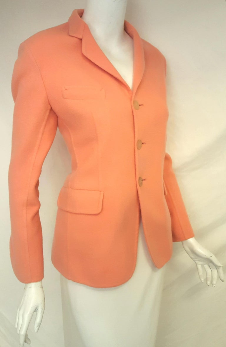 Jil Sander Pink Salmon Cashmere Jacket  In Excellent Condition For Sale In Palm Beach, FL