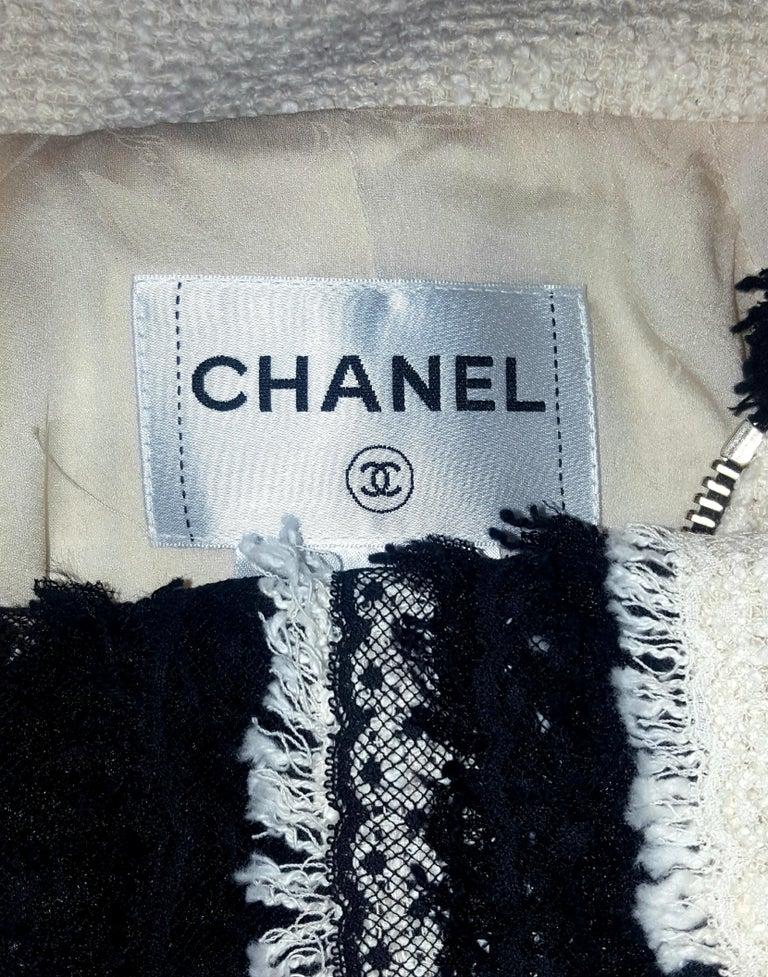 Chanel Ivory W/ Black Fringe & Lace Trim on Sleeves & Skirt Hem Suit For Sale 1