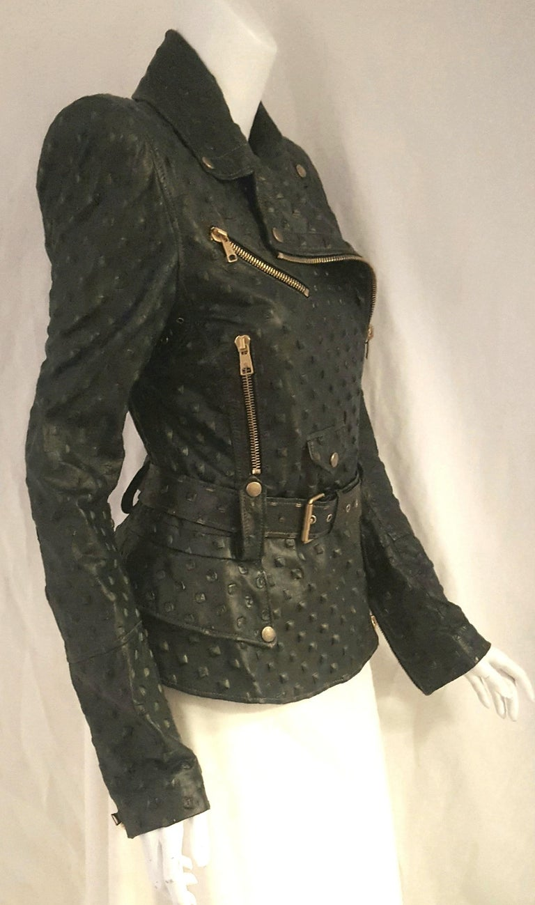 Women's Alexander McQueen Stamped Black Leather Belted Peplum Jacket W/ Multiple Zippers For Sale