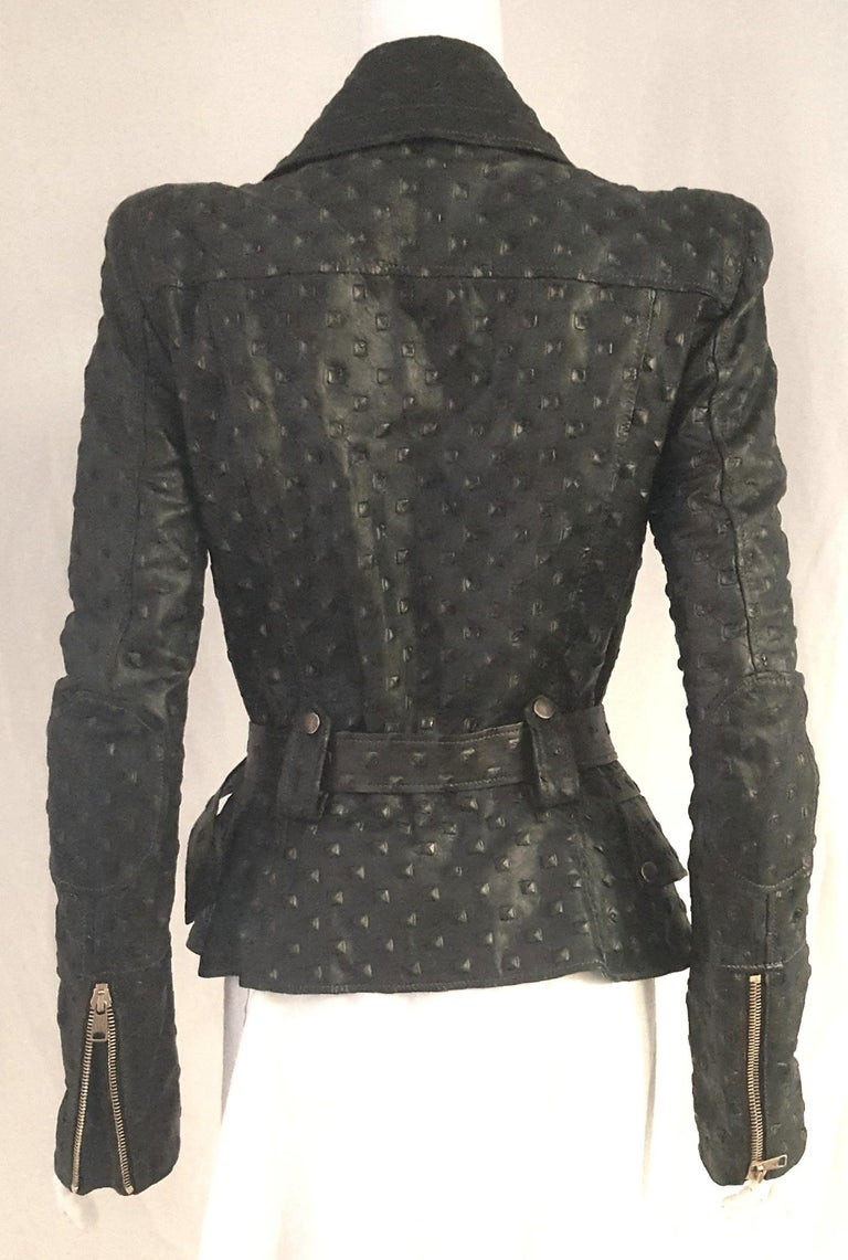 Alexander McQueen Stamped Black Leather Belted Peplum Jacket W/ Multiple Zippers For Sale 1