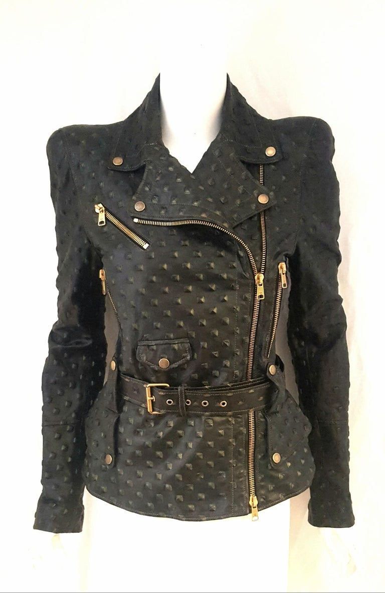 Alexander McQueen Stamped Black Leather Belted Peplum Jacket W/ Multiple Zippers In Excellent Condition For Sale In Palm Beach, FL