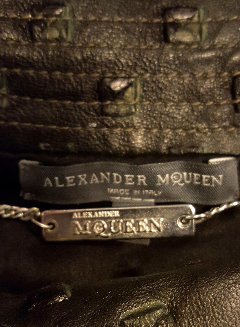 Alexander McQueen Stamped Black Leather Belted Peplum Jacket W/ Multiple Zippers For Sale 2