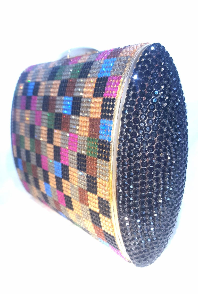 Judith Leiber Multi Color Art Deco 1990's Clutch Convertible  In Excellent Condition For Sale In Palm Beach, FL