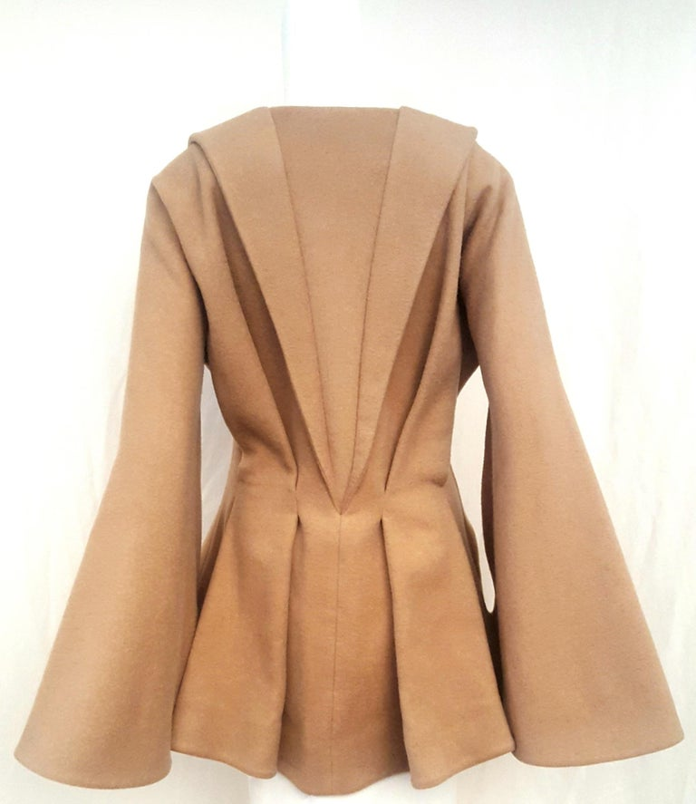 Brown Alexander McQueen Camel Hair Tailored Jacket For Sale