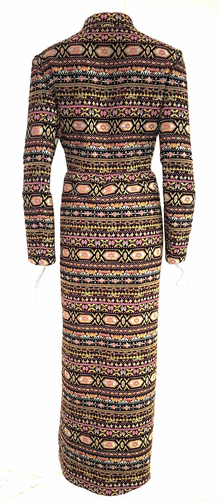 Brown Valentino Tapestry Pattern 2012/13 Runway Collection Long Coat For Sale