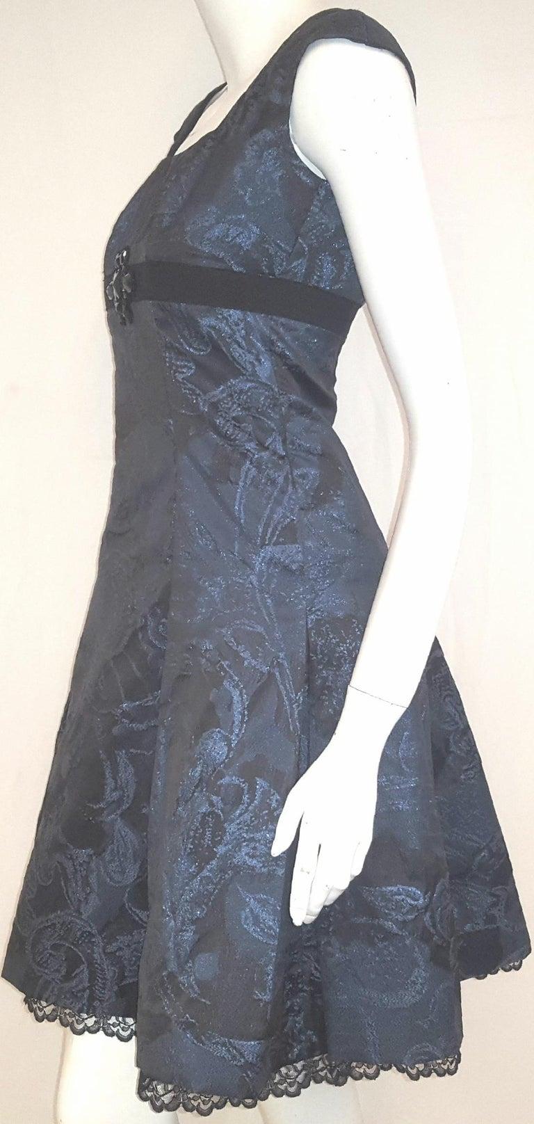 Women's Carolina Herrera Black & Blue Metallic Brocade Feminine Cap Sleeve Dress  For Sale