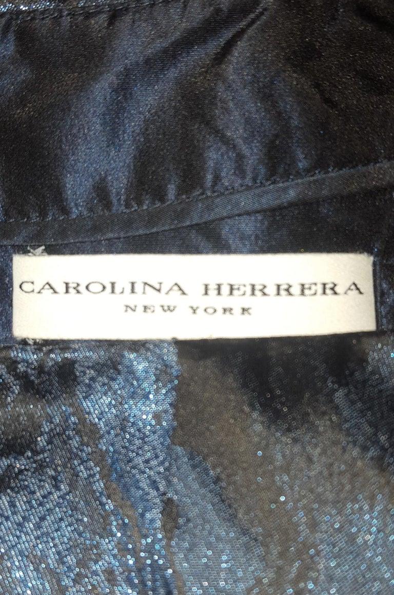Carolina Herrera Black & Blue Metallic Brocade Feminine Cap Sleeve Dress  For Sale 3