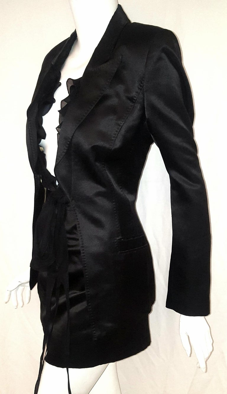 Women's Roberto Cavalli Black Satin Silk & Cotton Top Stitched Collar & Lapel Skirt Suit For Sale