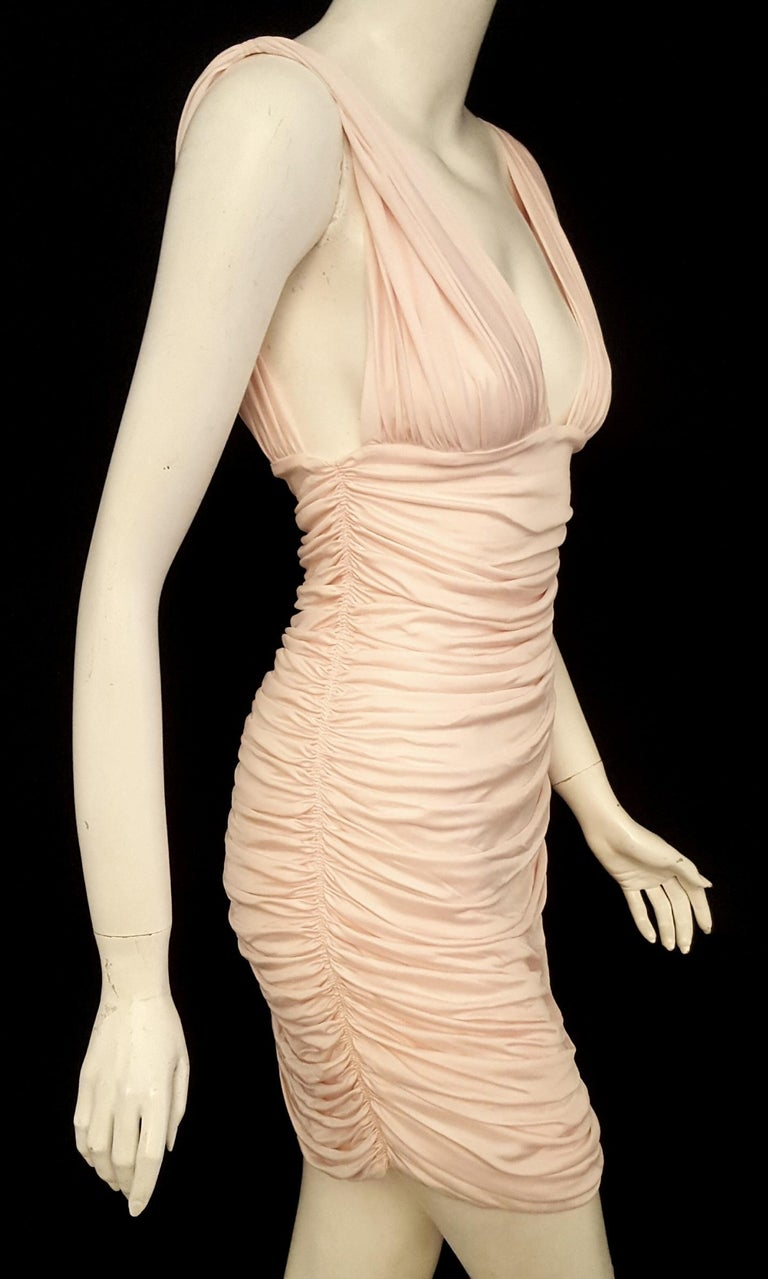 3017fe83c81 Balmain bodycon fit pink V neck with vertical ruching at front and back  with so much