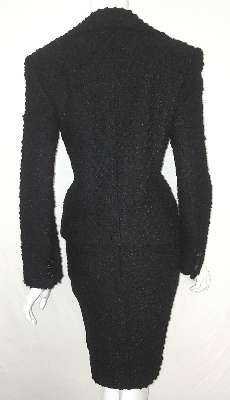 Dolce & Gabbana Black Tweed Skirt Suit  In Excellent Condition For Sale In Palm Beach, FL