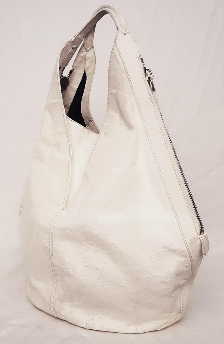 98712a222bd Givenchy Ivory Tinhan Ostrich Leather With Two Side Zippers Hobo Bag In  Good Condition For Sale