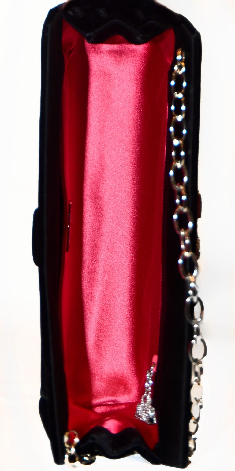 Judith Leiber Minimalistic Velvet Clutch W/ 3 Large Crystals & SilverTone Strap For Sale 3