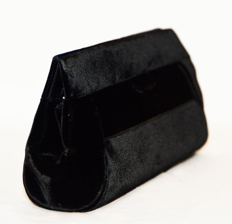 Women's Judith Leiber Minimalistic Velvet Clutch W/ 3 Large Crystals & SilverTone Strap For Sale