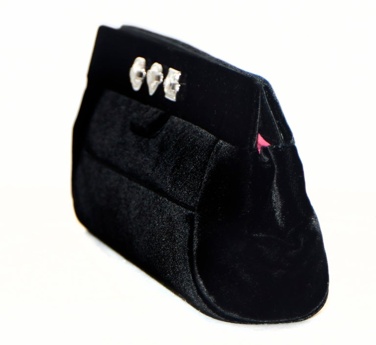 Black Judith Leiber Minimalistic Velvet Clutch W/ 3 Large Crystals & SilverTone Strap For Sale