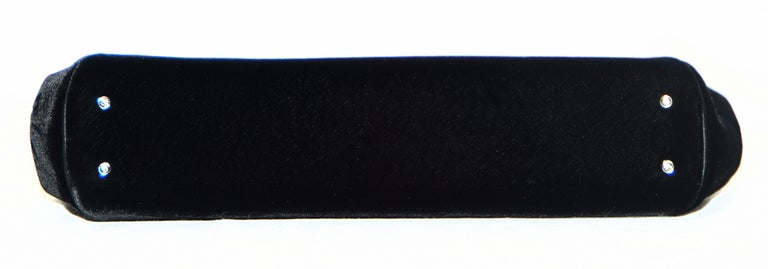 Judith Leiber Minimalistic Velvet Clutch W/ 3 Large Crystals & SilverTone Strap For Sale 1