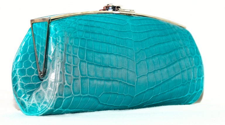 Women's Judith Leiber Turquoise Croc Clutch With Crystal Top Closure For Sale